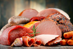 Meat products including ham and sausages stock photography