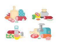 Meat products ingredient and rustic elements preparation equipment food flat vector illustration. Homemade sausage rustic space cutlet burger steak raw cooking Stock Photography