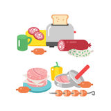 Meat products ingredient and rustic elements preparation equipment food flat vector illustration. Homemade sausage rustic space cutlet burger steak raw cooking Stock Images