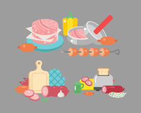 Meat products ingredient and rustic elements preparation equipment food flat vector illustration. Homemade sausage rustic space cutlet burger steak raw cooking Royalty Free Stock Images