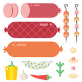 Meat products ingredient and rustic elements preparation equipment food flat vector illustration. Homemade sausage rustic space cutlet burger steak raw cooking Stock Image