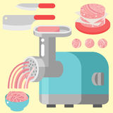 Meat products ingredient and rustic elements preparation equipment food flat vector illustration. Homemade sausage rustic space cutlet burger steak raw cooking Royalty Free Stock Photo