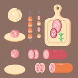 Meat products ingredient and rustic elements preparation equipment food flat vector illustration. Homemade sausage rustic space cutlet burger steak raw cooking Royalty Free Stock Photos