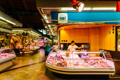 Meat Products For Sale In Santa Catarina Market Of Barcelona City. BARCELONA, SPAIN - AUGUST 05, 2016: Meat Products For Sale In Santa Catarina Market Of royalty free stock photo