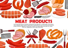 Vector poster of fresh meat products. Meat products and sausages for butcher shop. Vector delicatessen of bacon, ham or pork brisket and salami with pepperoni Stock Photos