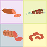 Meat products set of cartoon delicious barbecue kebab variety delicious gourmet meal and animal assortment slice lamb Stock Images
