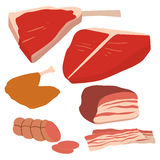 Meat products set of cartoon delicious barbecue kebab variety delicious gourmet meal and animal assortment slice lamb Stock Photography