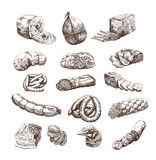 Meat products. Set of hand drawn vector sketches on a white background Stock Photo