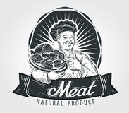 Meat products vector logo design template. Cooking Stock Image