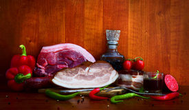 Meat products and vegetables. Meat and vegetables in large chunks Stock Photo