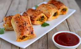 Meat puffs. Indian snack-meat patties, pastry puffs Stock Images