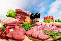 Variety of raw meat, close-up view. Meat raw group background market shop fresh Royalty Free Stock Photography