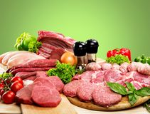 Variety of raw meat, close-up view. Meat raw group background market shop fresh Stock Photos