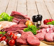 Variety of raw meat, close-up view. Meat raw group background market shop fresh Stock Photo