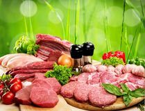 Variety of raw meat, close-up view. Meat raw group background market shop fresh Royalty Free Stock Image