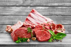 Raw Meat slices on background. Meat raw slices group background market shop Royalty Free Stock Photos