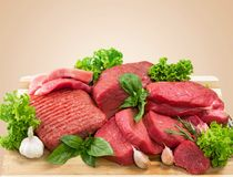 Raw Meat slices, close-up view. Meat raw slices group background market shop Royalty Free Stock Photography