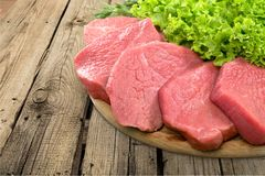 Raw Meat slices, close-up view. Meat raw slices group background market shop Royalty Free Stock Images