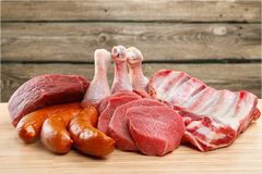 Raw Meat slices, close-up view. Meat raw slices group background market shop Stock Photography
