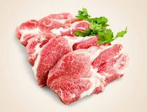 Raw Meat slices on wooden background. Meat raw slices group background market shop Royalty Free Stock Image
