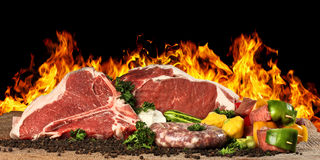 Meat Raw Steak. Raw Meat, vegtables and South African wors Stock Image