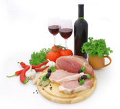 Meat and red wine Stock Image