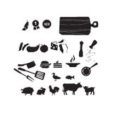 Meat restaurant food icon set. vector illustration Royalty Free Stock Image
