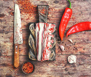 Meat on the rib of lamb Stock Photography