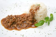 Meat with rice and mushrooms Stock Photo