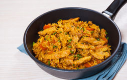 Meat with rice and vegetables Stock Image