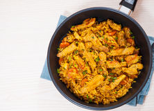 Meat with rice and vegetables Royalty Free Stock Photos