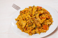 Meat with rice and vegetables Royalty Free Stock Photo