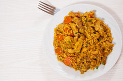 Meat with rice and vegetables Royalty Free Stock Image