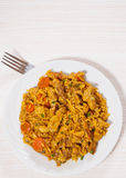 Meat with rice and vegetables Stock Images