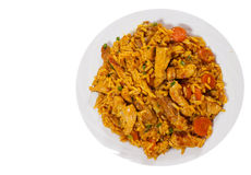 Meat with rice and vegetables. top view. isolated Royalty Free Stock Photos