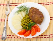 Meat rissole with vegetables Royalty Free Stock Images