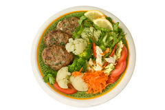Meat rissoles with vegetables Royalty Free Stock Image