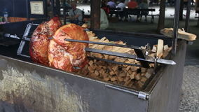 Meat is roasted stock footage