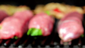 Meat roasted on an open fire, barbecue, pork, veal, chicken, meat rolls on fire Royalty Free Stock Photos
