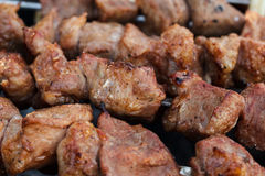 Meat roasted on skewers Royalty Free Stock Photography