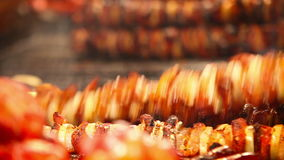 Meat roasts on the Fire: European national dish stock video footage