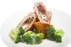 Meat roll with broccoli Royalty Free Stock Images