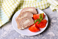 Meat roll with cheese, tomate. Close up, horizontal Stock Photos