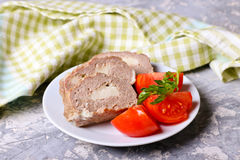 Meat roll with cheese, tomate. Close up, horizontal Stock Photo