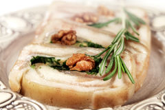 Meat roll of lard royalty free stock images