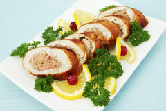Meat roll with the lemon Stock Images