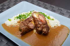 Meat roll with rice Stock Images