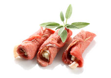 Meat rolls. On white background Stock Photography
