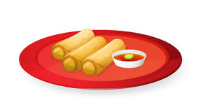 Meat rolls. Illustration of meat rolls in red dish on white vector illustration