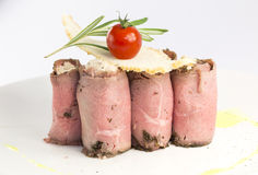 Meat rolls. Stuffed with cheese on a white background in the restaurant royalty free stock image